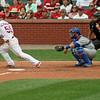 Cardinal infielder Skip Schumaker gets a hit.