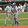 Cub pitcher Carlos Marmol and catcher Geovany Soto have a chat on the mound.