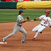 Cubs SS Ryan Theriot begins the doubleplay.