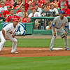 Pujols leading off first.  Cub Derrick Lee stands by for a pickoff attempt.