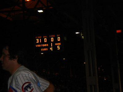 The Cubs were winning...when we left.