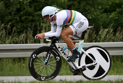Time Trial current Olympic and four-times World Champion Fabian Cancellara (Leopard) in action. After his successful Classics campaign 2011 he took a well earned rest and the Bayern-Rundfahrt is his first race after the break. This might be the reason for finishing 'only' second behind Bradley Wiggins (Team SKY) on this day.