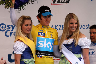 Friedberg, Germany, May 28th, 2011: New overall leader of Bayern-Rundfahrt 2011 is Geraint Thomas (Team SKY).