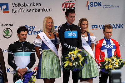 Bayern-Rundfahrt 2011 The podium of stage 4, 26KM Time Trial at Friedberg: 1er Bradley Wiggins               (GBR, Olympic, World + British Champion, Team SKY) 2er Fabian Cancellara           (SUI, Olympic + World Champion, Team Leopard) 3er Edvald Boasson Hagen    (NOR, Norwegian Champion, Team SKY)