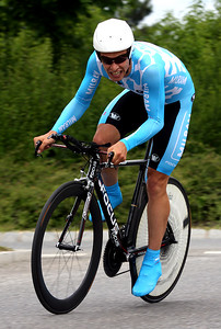 Linus Gerdemann (Milram) gives all and finishes 3rd in this time trial. With this good performance he became leader of the general classification and won the Bayern-Rundfahrt 2009.