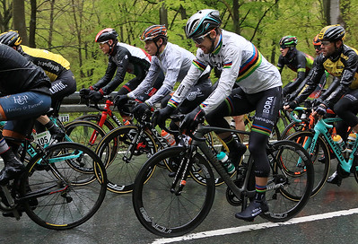 World Champion Peter Sagan - BORA hansgrohe suffering in the wet and cold conditions