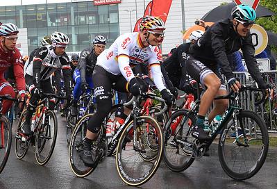 Tony Martin, Marcel Kittel, Andre Greipel and Marcus Burghardt at the start of the race.