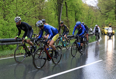 The early break fighting the wet and cold conditions.