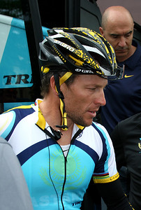 Innsbruck, Austria, May 15th, 2009: Lance Armstrong (Astana) at Innsbruck. GIRO d'Italia 2009