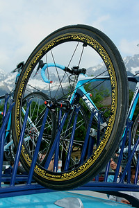 Innsbruck, Austria, May 15th, 2009: Wheel of Lance Armstrong (Astana) at Innsbruck. GIRO d'Italia 2009