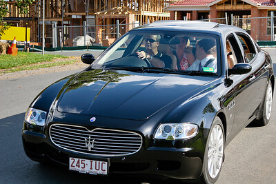 Brisbane Lady Mayoress Lisa Newman is escorted around the course in a nice Maserati, reflecting the Italian flavour of the afternoon - 2005 Giro de Brisbane (Giro d'Brisbane) Cycling Criterium, Carina, Brisbane, Australia; linked to the Abruzzo Club. Photos by Des Thureson:  http://disci.smugmug.com
