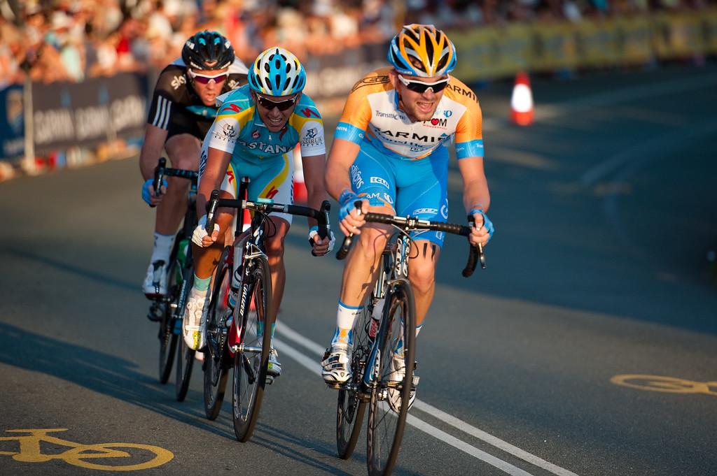 """Headed for the top 3: Jack Bobridge, Allan Davis and Mathew Hayman"" - Noosa Men's Cycling Grand Prix, 2010. Noosa Triathlon Multi Sport Festival, 30 October, Sunshine Coast, Queensland, Australia."