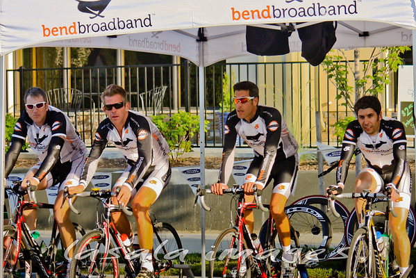 Bendbroadband elite masters men Derek Stallings, Michael Larsen, Brian Seguin and Ed Micek warm-up prior to the start of their race.