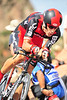 US cycling hero Big George Hincapie prepares for the steep descent out of the Garden of the Gods during Monday's prologue. Rider reached speeds of nearly 60 miles per hour on the short, steep hills west of Colorado Springs.