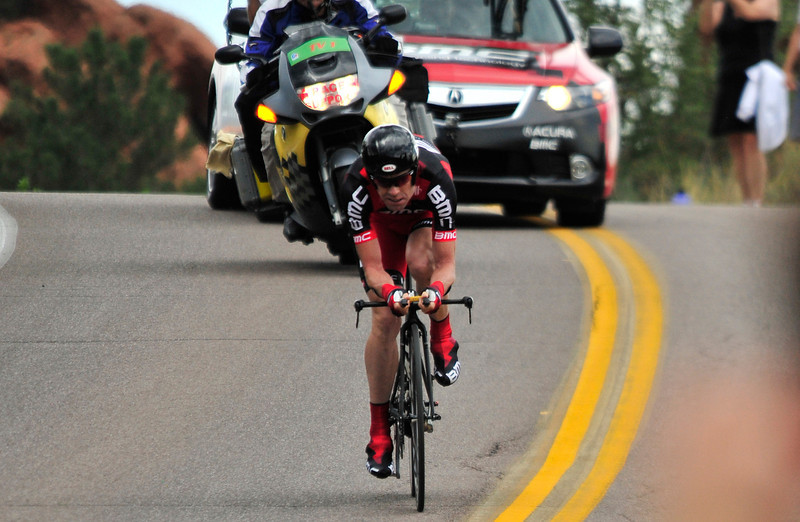 Tour de France champion Cadel Evans hammers down the road through the Garden of the Gods on August 22. Evans flew to Colorado more than a week ahead of the race in an attempt to acclimate to the high altitude - more than 4,000 feet higher than any clime the European peloton had ever done before.