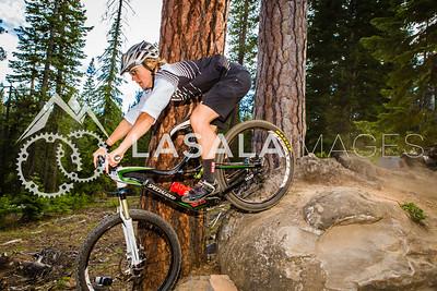 Joanna Petterson rolls over the rock jump.