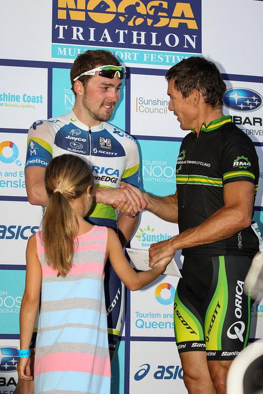 "Robbie McEwen, Leigh Howard - Noosa Subaru Men's Australian Open Criterium (Cycling) - 2013 Super Saturday at the Noosa Triathlon Multi Sport Festival, Noosa Heads, Sunshine Coast, Queensland, Australia. Camera 2. Photos by Des Thureson - <a href=""http://disci.smugmug.com"">http://disci.smugmug.com</a>"