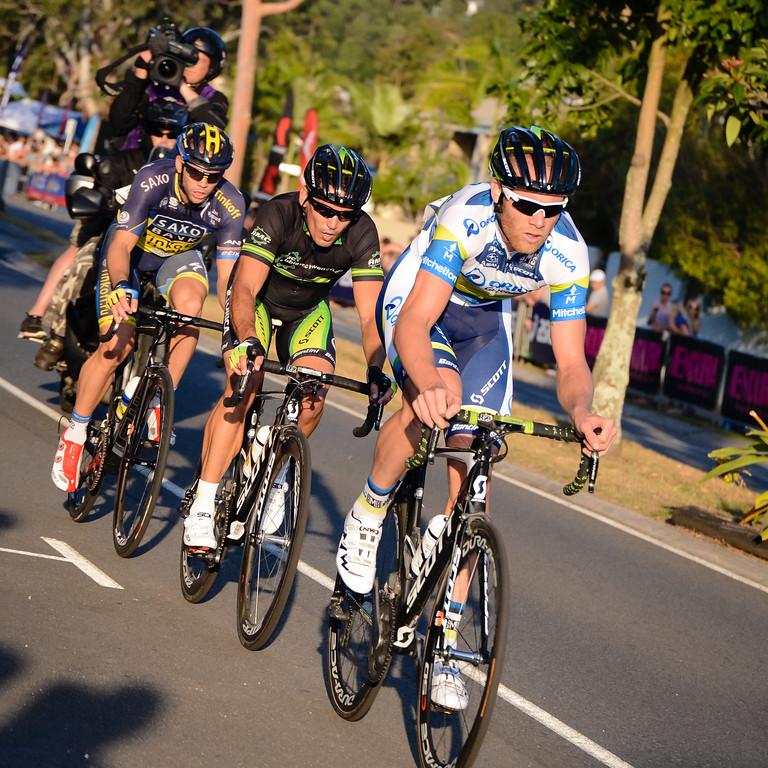 "Robbie McEwen, Leigh Howard, Jonathan Cantwell - Subaru Men's Australian Open Criterium (Cycling) - 2013 Super Saturday at the Noosa Triathlon Multi Sport Festival, Noosa Heads, Sunshine Coast, Queensland, Australia. Camera 1. Photos by Des Thureson - <a href=""http://disci.smugmug.com"">http://disci.smugmug.com</a>"