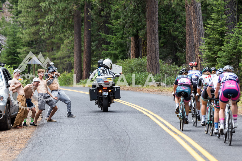 A distraction for the break on the climb to McKenzie Pass during stage 1 of the women's road race at the 2016 Cascade Cycling Classic on July 20, in Bend, USA. Photo: Matthew Lasala/Lasala Images
