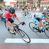 Racers in the Longsjo's woman's pro 1 2 3 race come around a corner in a pack in Worcester on Saturday. SENTINEL & ENTERPRISE/JOHN LOVE
