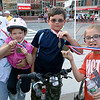 Showing off their metals after they participated in the Kids race at the Longsjo Classic in Worcester on Saturday os from left. Ernsto Adar with his daughter Rosie, 3, Matt Mullen , 10, and Nathan Adar, 10, all of Auburn. SENTINEL & ENTERPRISE/JOHN LOVE