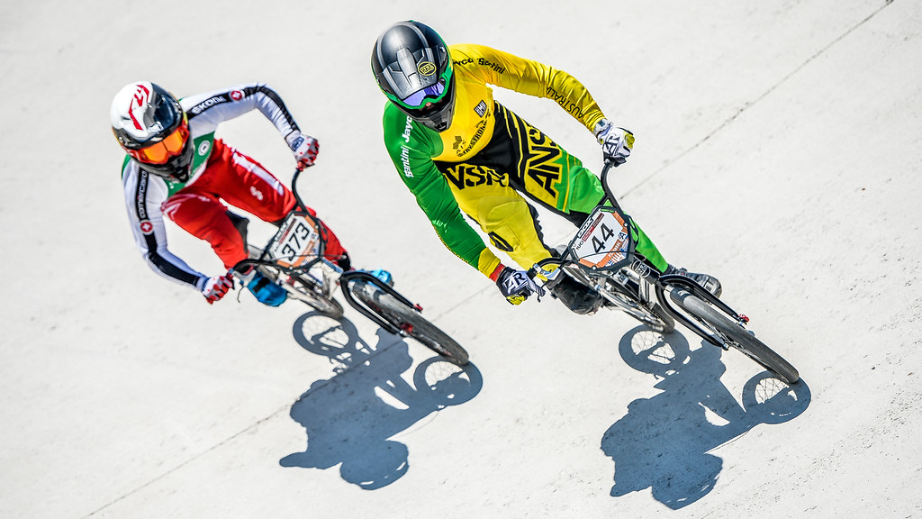 08-05-2016: Wielrennen: UCI BMX Supercross World Cup: Papendal  Anthony DEAN from Australia, leads Renaud BLANC from Switzerland  Copyright Orange Pictures / Andy Astfalck