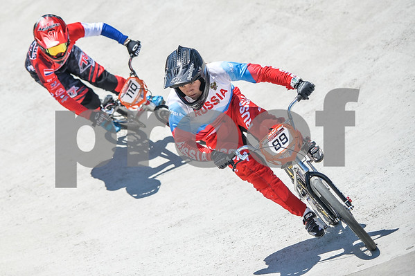 08-05-2016: Wielrennen: UCI BMX Supercross World Cup: Papendal  Yaroslava BONDARENKO from Russia leads Laura SMULDERS from the Netherlands  Copyright Orange Pictures / Andy Astfalck