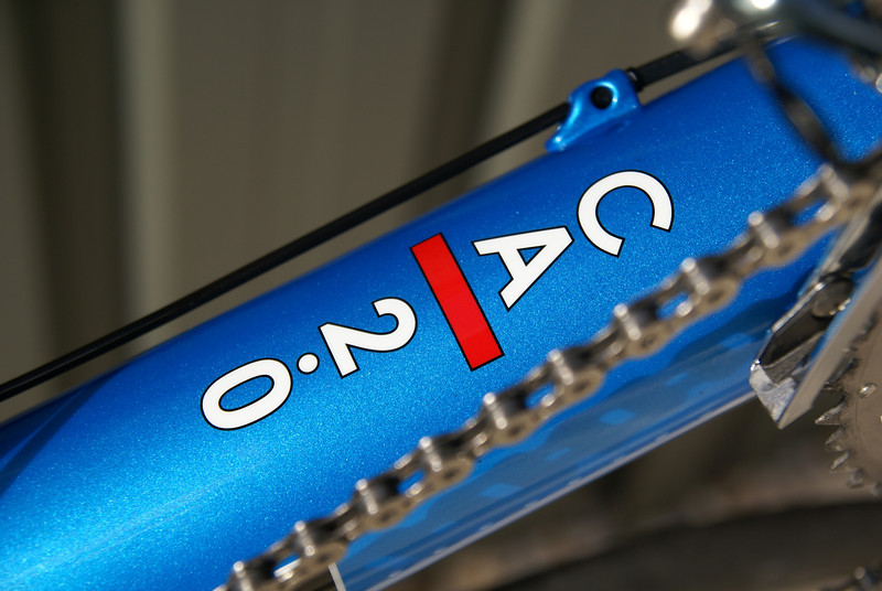 Close up of my Bacchetta Carbon Aero 2.0, showing the metallic blue finish.
