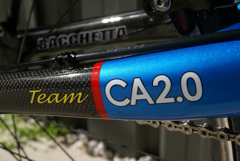 Close up of my Bacchetta Carbon Aero 2.0, showing the metallic blue and glossy carbon finish.