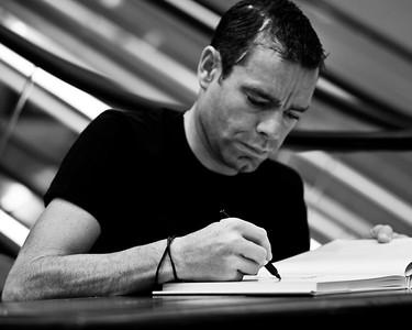 "Alternate Processing: ""Kodak T-Max 100"", 2011 Tour de France cycling winner, Australian Cadel Evans - book signing at Dymocks Bookstore, Brisbane, Queensland, Australia; Monday 28 November 2011. Photos by Des Thureson."