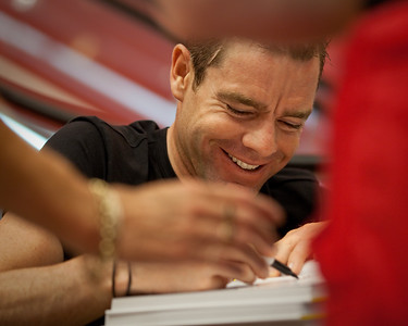 2011 Tour de France cycling winner, Australian Cadel Evans - book signing at Dymocks Bookstore, Brisbane, Queensland, Australia; Monday 28 November 2011. Photos by Des Thureson.