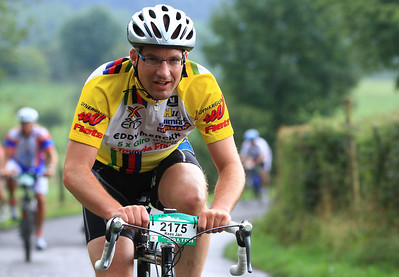 Kees Jan on the Côte de la Redoute (half-way the steepest part), Liège-Bastogne-Liège 2013 (167km version, 10th of August 2013). Average percentage is 9.5%, max 22%, 161 heightmeters from Remouchamps.