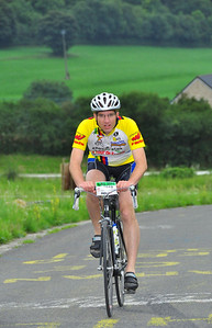Kees Jan on the Côte de la Redoute (just after the easier part of the climb alongside the motorway), Liège-Bastogne-Liège 2011 (170km version, 30 July 2011). Average percentage is 9.5%, max 22%, 161 heightmeters from Remouchamps.