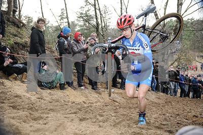 Second place Lars van der Haar at the  Mens Elite CycloCross Dutch National Championhips held in Hellendoorn, the Netherlands on the 10th of January 2016