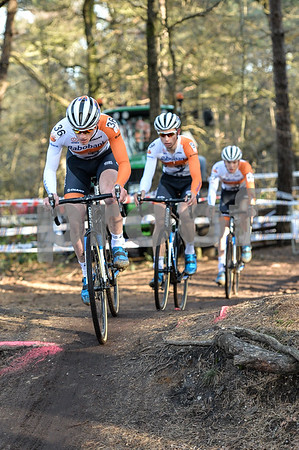 Sieben Wouters leads Martijn Budding and Joris Nieuwenhuis during the U23 CycloCross Dutch National Champion held in Hellendoorn, the Netherlands on the 10th of January 2016