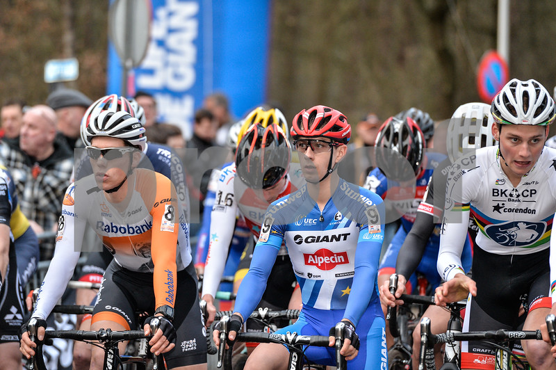 The start of the Mens Elite CycloCross Dutch National Championship held in Hellendoorn, the Netherlands on the 10th of January 2016
