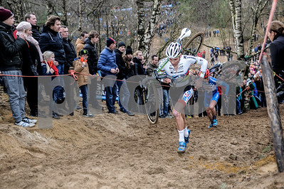 Mathieu van der Poel leads Lars van der Haar at the Mens Elite CycloCross Dutch National Championship held in Hellendoorn, the Netherlands on the 10th of January 2016