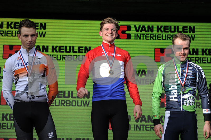New U23 Men champion Sieben Wouters, with second place Martijn Budding, and third Gosse van der Meer at the U23 CycloCross Dutch National Champion held in Hellendoorn, the Netherlands on the 10th of January 2016