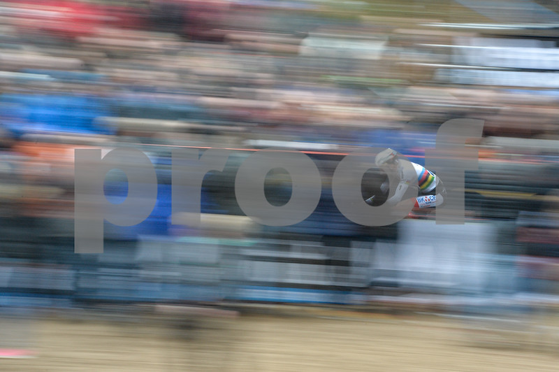 Mathieu van der Poel  leads at the Mens Elite CycloCross Dutch National Championship held in Hellendoorn, the Netherlands on the 10th of January 2016