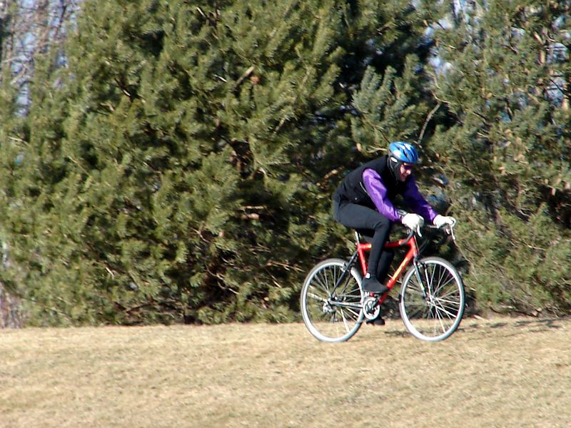 Andre on the downwind section. Frozen barren tundra is surpisingly unforgiving for no suspension.