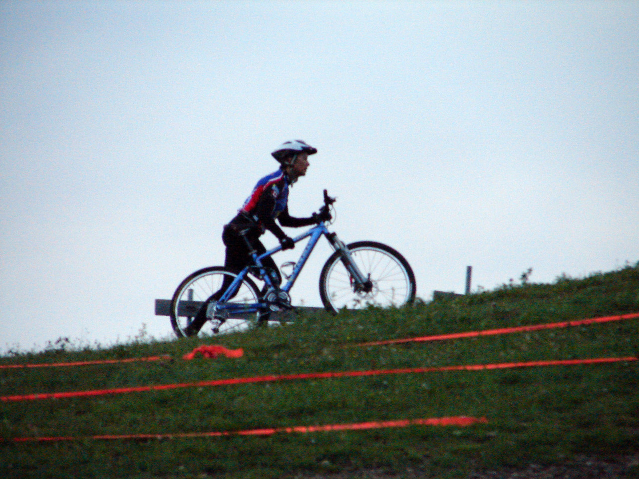 Michelle dismounting and running.