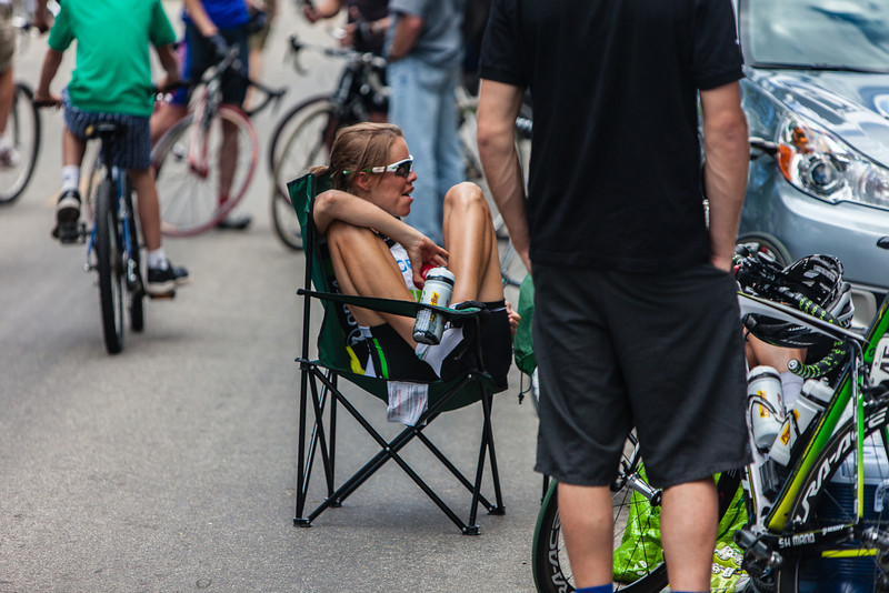 A Green Edge rider relaxing after the race. Green Edge is an Australian based team.
