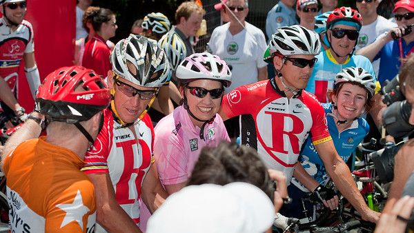 "L-R: Lance Armstrong, Queensland Premier Anna Bligh, Robbie McEwen, Minister for Transport Rachel Nolan - Queensland Ride Relief, led by Lance Armstrong, Robbie McEwen & Allan Davis; Brisbane, Queensland, Australia; Monday 24 January 2011. Photos by Des Thureson - <a href=""http://disci.smugmug.com"">http://disci.smugmug.com</a>"