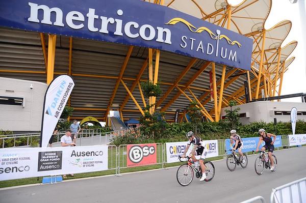 """Motosport & Celebrity Time Trial - Metricon Stadium - Gold Coast Festival of Cycling; Carrara, Gold Coast, Queensland, Australia; 28 September 2013. Camera 1. Photos by Des Thureson - <a href=""""http://disci.smugmug.com"""">http://disci.smugmug.com</a>.   -  UN-Edited Image only."""