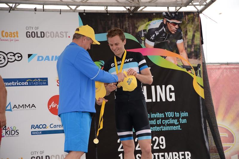 """Presentations - Criterium, Elite Men A - Gold Coast Festival of Cycling; Carrara, Gold Coast, Queensland, Australia; 28 September 2013. Camera 1. Photos by Des Thureson - <a href=""""http://disci.smugmug.com"""">http://disci.smugmug.com</a>.   -  UN-Edited Image only."""