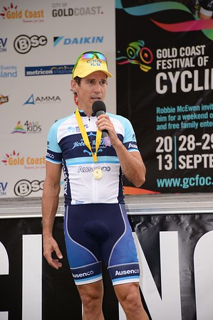 "Robbie McEwen - Presentations - Criterium, Elite Men A - Gold Coast Festival of Cycling; Carrara, Gold Coast, Queensland, Australia; 28 September 2013. Camera 1. Photos by Des Thureson - <a href=""http://disci.smugmug.com"">http://disci.smugmug.com</a>.   -  UN-Edited Image only."