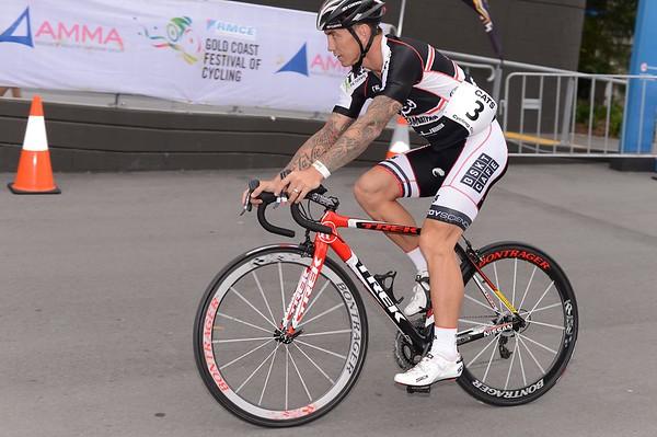 """Matt Rogers - Motosport & Celebrity Time Trial - Gold Coast Festival of Cycling; Carrara, Gold Coast, Queensland, Australia; 28 September 2013. Camera 1. Photos by Des Thureson - <a href=""""http://disci.smugmug.com"""">http://disci.smugmug.com</a>.   -  UN-Edited Image only."""