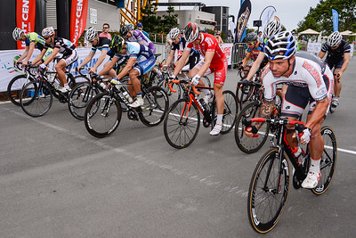 Race Start - Robbie McEwen, Griff Moore  - Criterium, Elite Men A - Gold Coast Festival of Cycling; Carrara, Gold Coast, Queensland, Australia; 28 September 2013. Camera 1. Photos by Des Thureson - http://disci.smugmug.com. Alan West Alan West Kyle Ivan Bridgwood