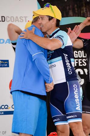 """Robbie McEwen - Presentations - Criterium, Elite Men A - Gold Coast Festival of Cycling; Carrara, Gold Coast, Queensland, Australia; 28 September 2013. Camera 1. Photos by Des Thureson - <a href=""""http://disci.smugmug.com"""">http://disci.smugmug.com</a>."""