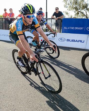 """Subaru Mooloolaba Criterium - 2015 Mooloolaba Triathlon Multi Sport Festival, Sunshine Coast, Qld, AUS; Saturday 14 March 2015. Photos by Des Thureson - <a href=""""http://disci.smugmug.com"""">http://disci.smugmug.com</a>. Camera 1."""